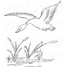printable black and white art clip art of a duck flying over a