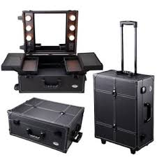makeup luggage with lights studio cosmetic makeup case artist barber salon travel rolling light