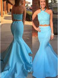 light blue formal dresses buy two piece halter backless light blue prom dress with lace sash
