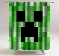 Custom Bathroom Shower Curtains Minecraft Creeper Shower Curtains Myshowercurtains