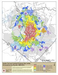 Austin Map by Austin Annexations By Decade Map Austin