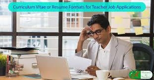 Curriculum Vitae Or Resume Curriculum Vitae Cv Or Resume Formats For Teacher Job Applications