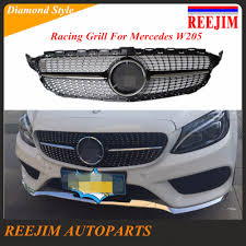 black diamond benz abs plastic front diamond racing grill for mercedes benz w205 c180