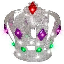 shop gemmy pre lit crown with twinkling cool white led lights at