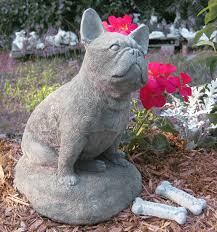 bulldog concrete garden statue by springhillstudio on etsy
