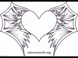 heart with wings tattoo stencil photos pictures and sketches