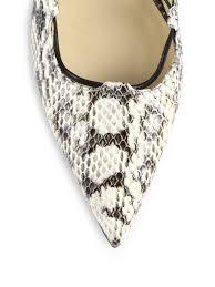 lyst michael kors kallie snakeskin u0026 leather ankle wrap flats in