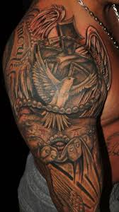 3d flying dove and wooden cross tattoos on back shoulder real