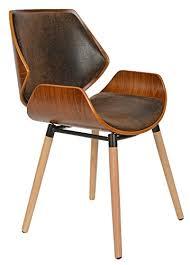 chaise de bureau en bois ts ideen 1 x chaise de bureau bois de chêne foncé faux cuir marron
