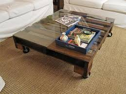Creative Coffee Tables Furnitures Rustic Diy Pallet Coffee Table With Glass Top Near