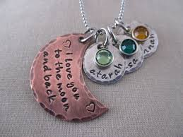 Name And Birthstone Necklace Rustic I Love You To The Moon And Back Mixed Metal Necklace With