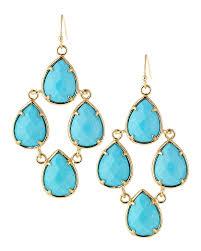 teardrop chandelier earrings lyst kendra teardrop chandelier earrings turquoise in blue