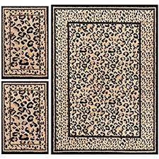 amazon com achim home furnishings capri 3 piece rug set leopard