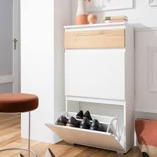Shoe Cabinet Oak by Hilary Shoe Cabinet In White And Oak With 2 Flap Doors