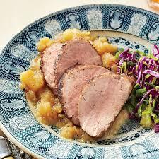thanksgiving pork loin honey glazed pork tenderloin u0026 homemade applesauce recipe myrecipes
