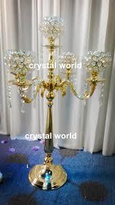 Cheap Candelabra Centerpieces Tall Elegant Gold Color Wedding Crystal Candelabra On Sale