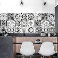 faience cuisine adhesive 36 carrelage adhésif 15x15 cm ps00028 décorations en noir et