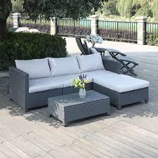 portfolio aldrich grey 5 piece wicker indoor outdoor sectional and