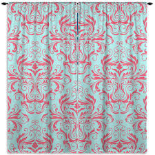 Coral And Turquoise Curtains Coral And Mint Curtain Damask Window Curtain Curtains