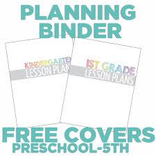 4 free teacher planning binder covers printable kindergartenworks