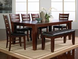 dark wood dining room table with bench dweef com bright and