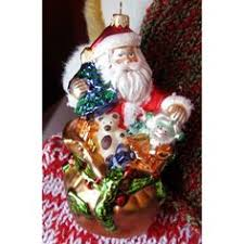 house of hatten ornament hanging self standing santa happy