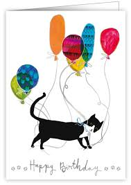 greeting cards for cat people cat with balloons birthday card