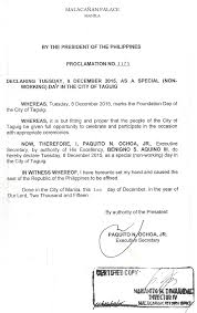nonworking proclamation 1175 special non working day in taguig city on dec