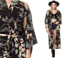 black floral kimono dress