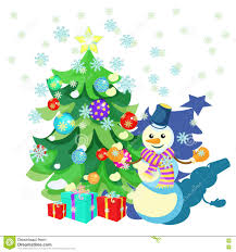 card christmas decorations christmas tree gifts snowman stock