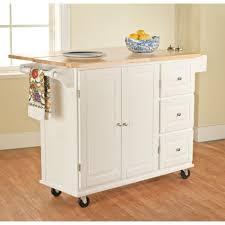kitchen white wooden kitchen island on wheels with steel handle