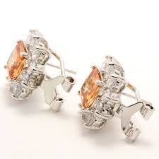 clip on stud earrings 4 80ctw citrine white sapphire clip stud earrings property room