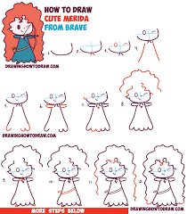 how to draw cute kawaii chibi merida from disney pixar u0027s brave in