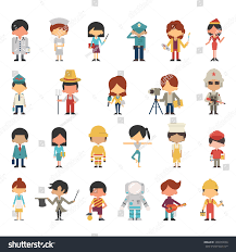 illustration characters kids children various occupations stock
