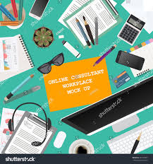workspace online consultant mock creating your stock vector