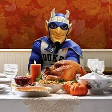 blue at thanksgiving dinner duke