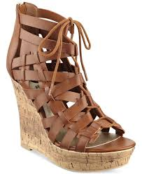 g by guess derby lace up platform wedge sandals in brown lyst