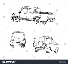 suv truck car sketch different angle stock illustration 411685804