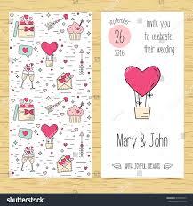 Weeding Invitation Card Wedding Invitation Card Line Icons Flat Stock Vector 418993777