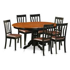 amazon com east west furniture avat7 blk lc 7 piece table and 6