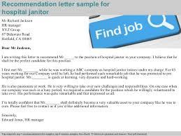 hospital janitor recommendation letter