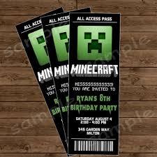 minecraft birthday invitation template minecraft printable seating