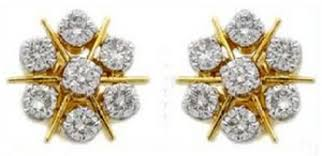 real gold earrings indian gold earrings real certified 1 00 ct 18k gold
