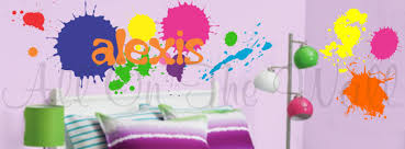 paint splatters wall decals name decal boy bedroom