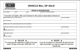 Free Motor Vehicle Bill Of Sale Template by Free Oregon Vehicle Bill Of Sale Form Pdf Template Form
