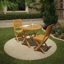 Garden Bistro Chairs Wooden Garden Bistro Set 3 Piece Terrace Table Chairs Patio