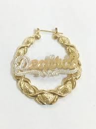 name hoop earrings personalized 14k gold overlay name hoop earrings bamboo xoxo
