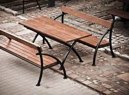 Street Furniture Benches Contemporary Picnic Table Wooden Steel Rectangular Flex