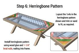 Free Wooden Table Plans by Outdoor Table With X Leg And Herringbone Top Free Plans