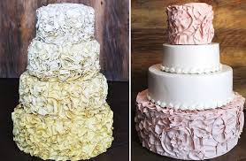 ombre and pink and ivory ruffled wedding cakes